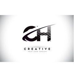 Ch c h letter logo design with swoosh and black vector