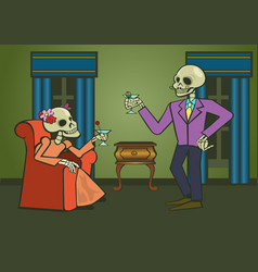 Cheers with a couple skeletons drinking vector