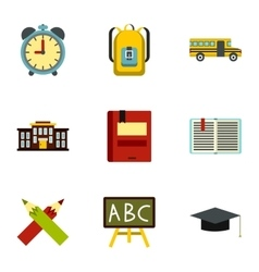 Children education icons set flat style vector image vector image