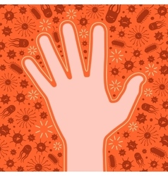 Clean hand protected from the viruses and bacteria vector image