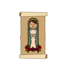 Colorful background with canvas of virgin of vector
