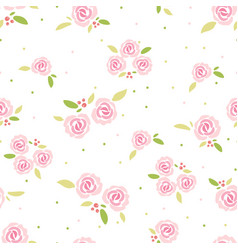 cute flat style pink rose seamless pattern vector image