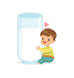 Cute little boy hugging giant milk glass healthy vector