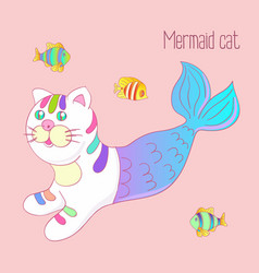 Cute mermaid cat purrmaid with purple tail vector