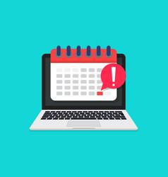 deadline in calendar laptop online meeting vector image