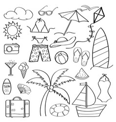 doodle cartoon items summer holiday collection vector image