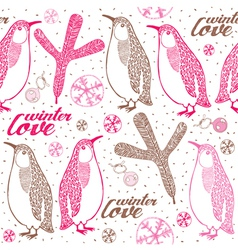 Doodle penguins winter pattern vector image