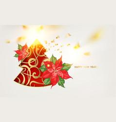 fantasy christmas fir tree with poisettia flower vector image