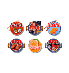 Fast food logo set sushi barbecue burger badges vector