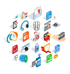 Files icons set isometric style vector
