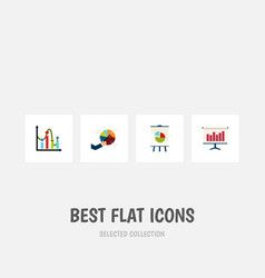 flat icon diagram set of segment graph easel and vector image