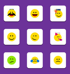 flat icon gesture set of laugh party time vector image