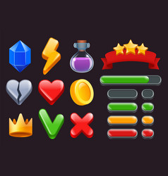 Game ui kit icons stars colored ribbons menus and vector
