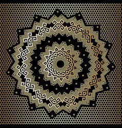 Gold and black ornate greek mandala pattern vector