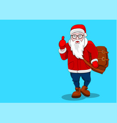 greeting card copy space santa claus hipster vector image