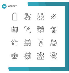 Group 16 outlines signs and symbols for sport vector