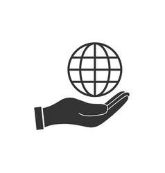hand with global icon flat vector image