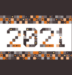 happy new year 2021 pixel art typography holidays vector image