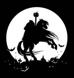 headless horseman spooky halloween character vector image