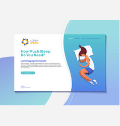 How much sleep do you need landing page template vector