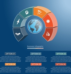 infographic semicircle and globe numbered 6 vector image