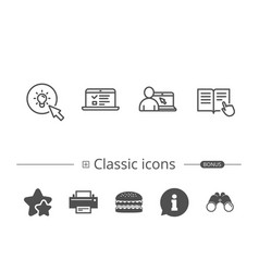 instructions idea and online education icons vector image