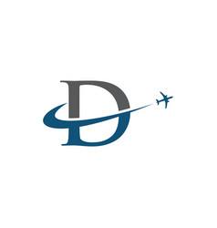 Letter d travel airplane logo vector