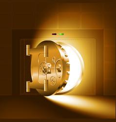 light half-open door safe gold vector image