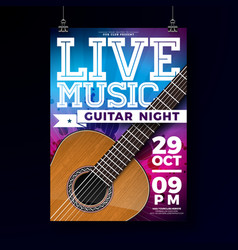 live music flyer design with acoustic guitar vector image