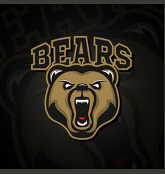 logo grizzly bear logo for a sport team vector image