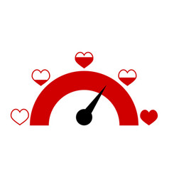 love indicator with red hearts for mobile app vector image
