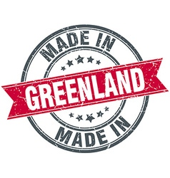 Made in Greenland red round vintage stamp vector