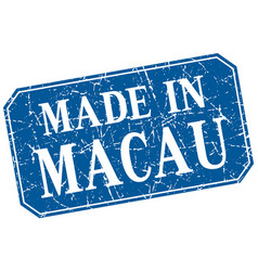 Made in macau blue square grunge stamp vector