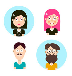 man and woman avatars people characters men and vector image