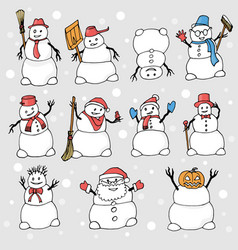 many snowmen with different objects and poses vector image