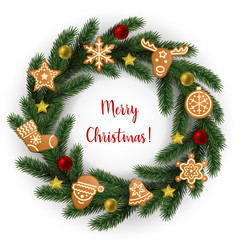 merry christmas greeting card with fir tree frame vector image
