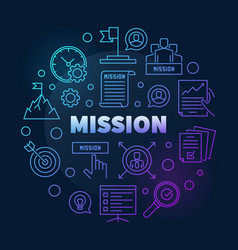 Mission colored linear round modern vector