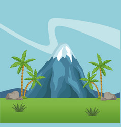mountains and forest scenery vector image