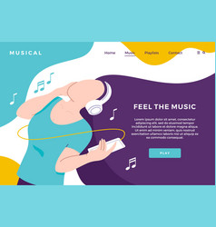 Music streaming download landing page with girl vector