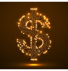 Neon symbol of dollar Circuit board vector