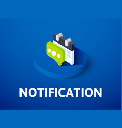 Notification isometric icon isolated on color vector