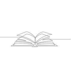 one line book learning and studying library vector image