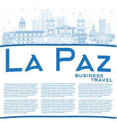 outline la paz bolivia city skyline with blue vector image