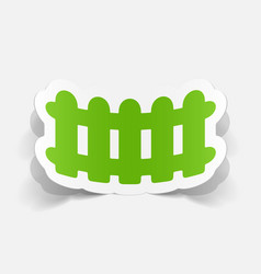 Paper sticker wooden fence vector