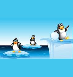 penguin in arctic landscape vector image