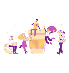 people drinking coffee or hot drink in disposable vector image