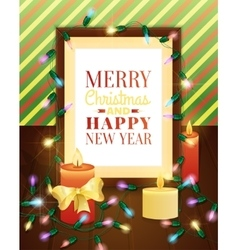 Picture frame decorated with christmas lights vector