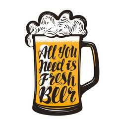 Pint mug of ale brewery symbol all you need vector