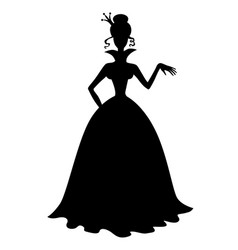 Princess silhouette in a long dress vector