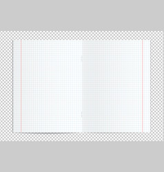 Realistic blank lined copy book spread vector